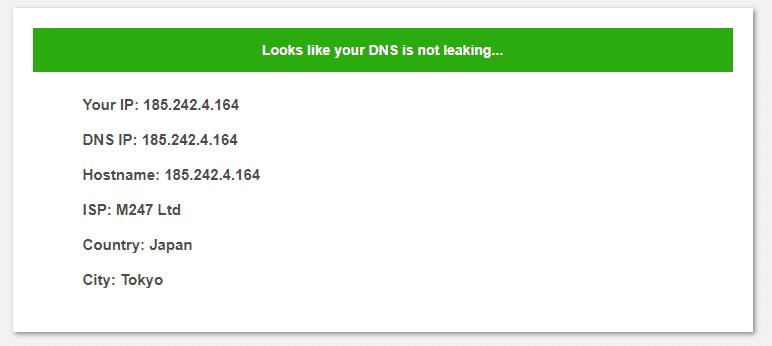 DNS Leak Test Surfshark