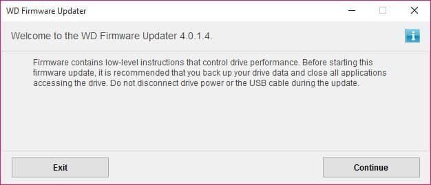 WD Universal Firmware Updater Screenshot