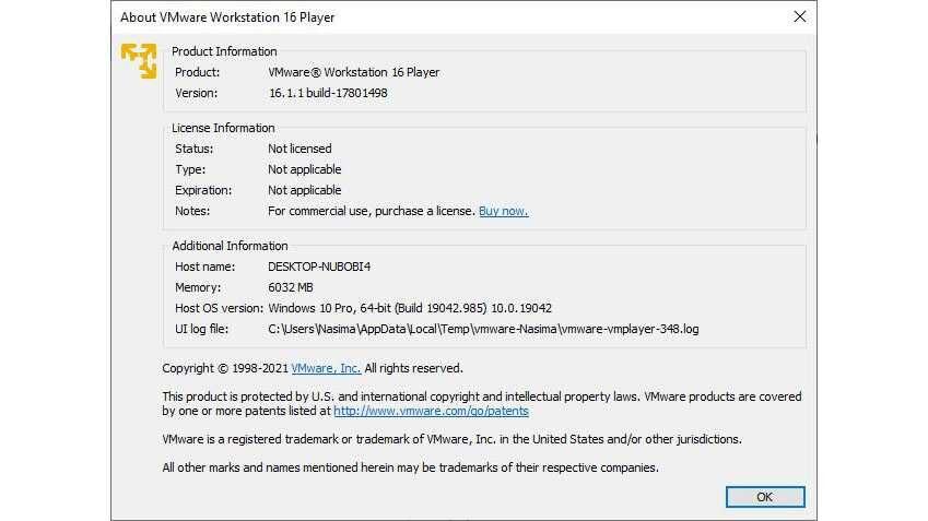 VMware Workstation Player Screenshot