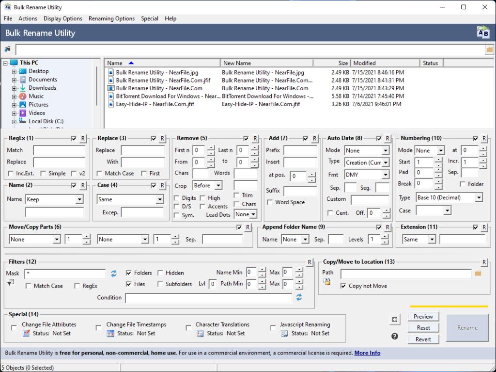 Bulk Rename Utility Screenshot