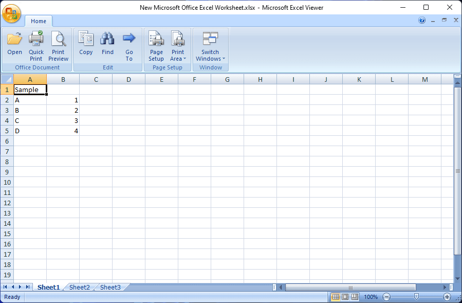 Microsoft Excel Viewer Screenshot