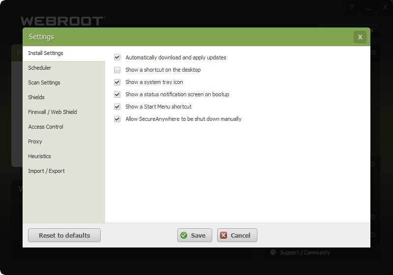 Webroot SecureAnywhere Internet Security Plus Screenshot
