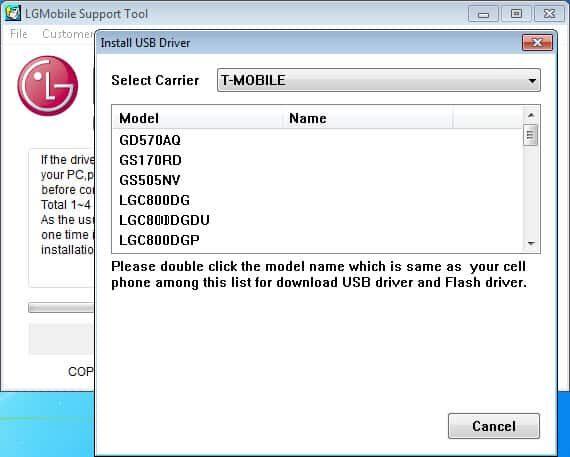 LG Mobile Support Tool Screenshot