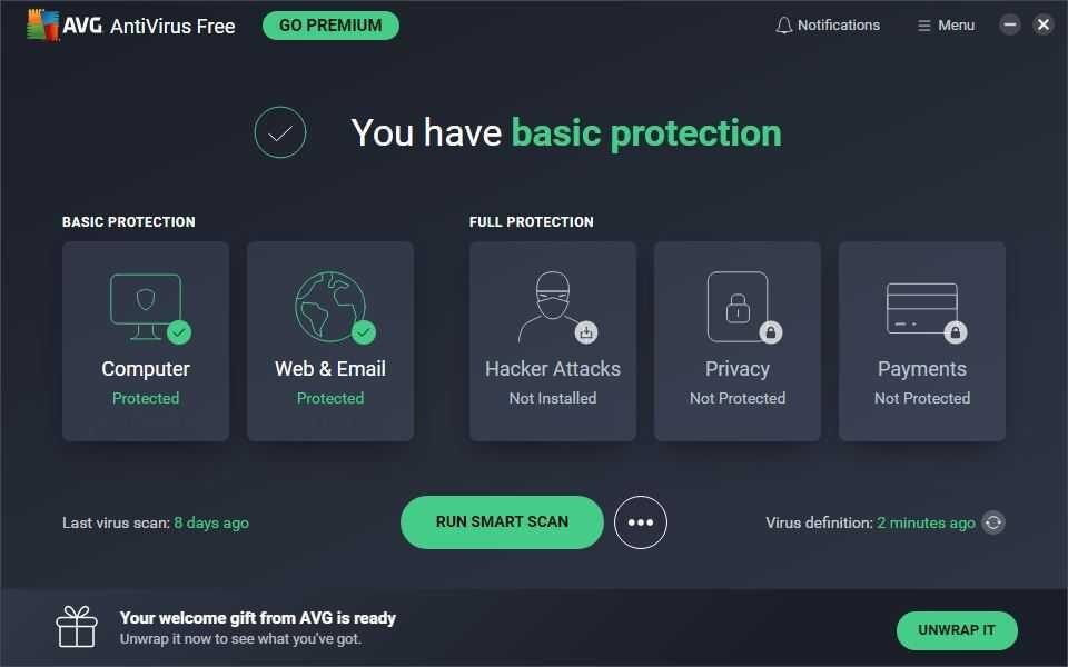 AVG Free Antivirus Screenshot