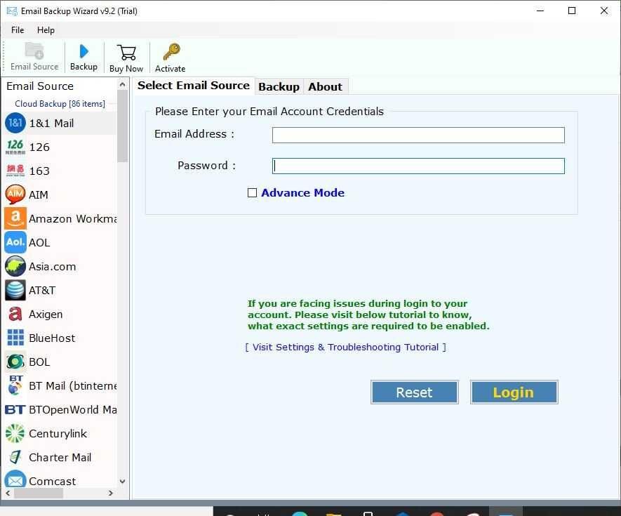 ZOOK Email Backup Wizard Screenshot